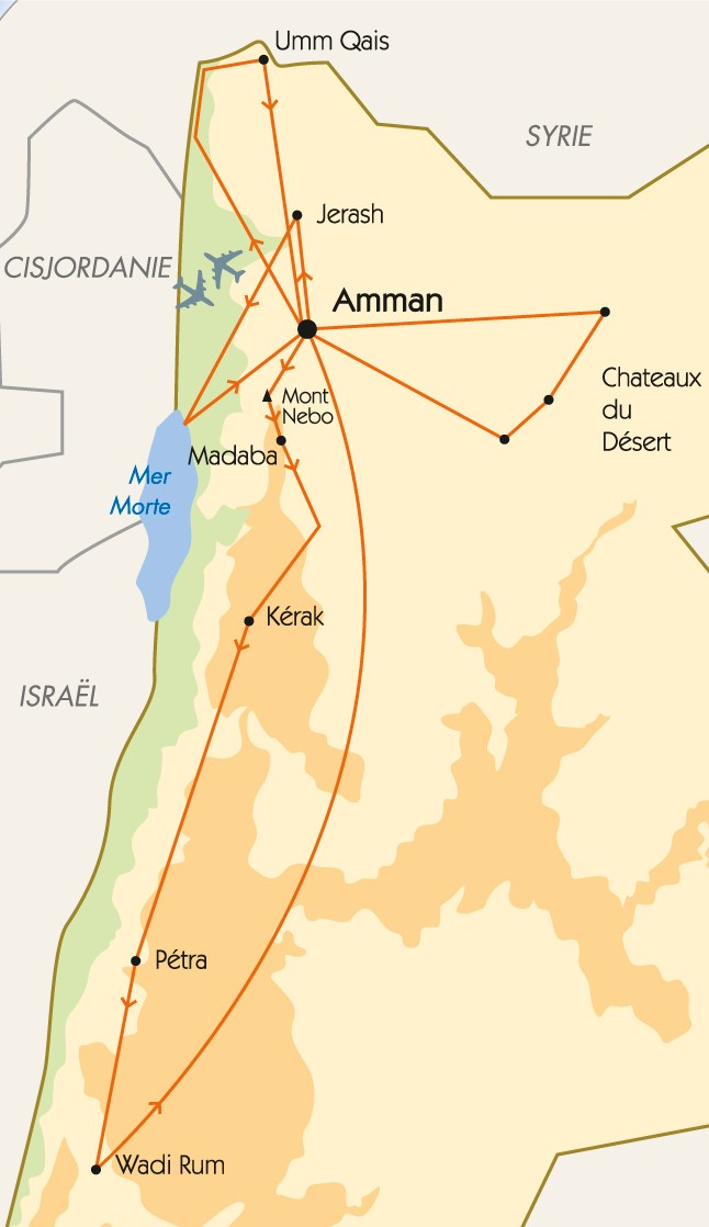 Carte Jordanie Petra.Carte Jordanie De Jerash A Petra Voyages Pharaon
